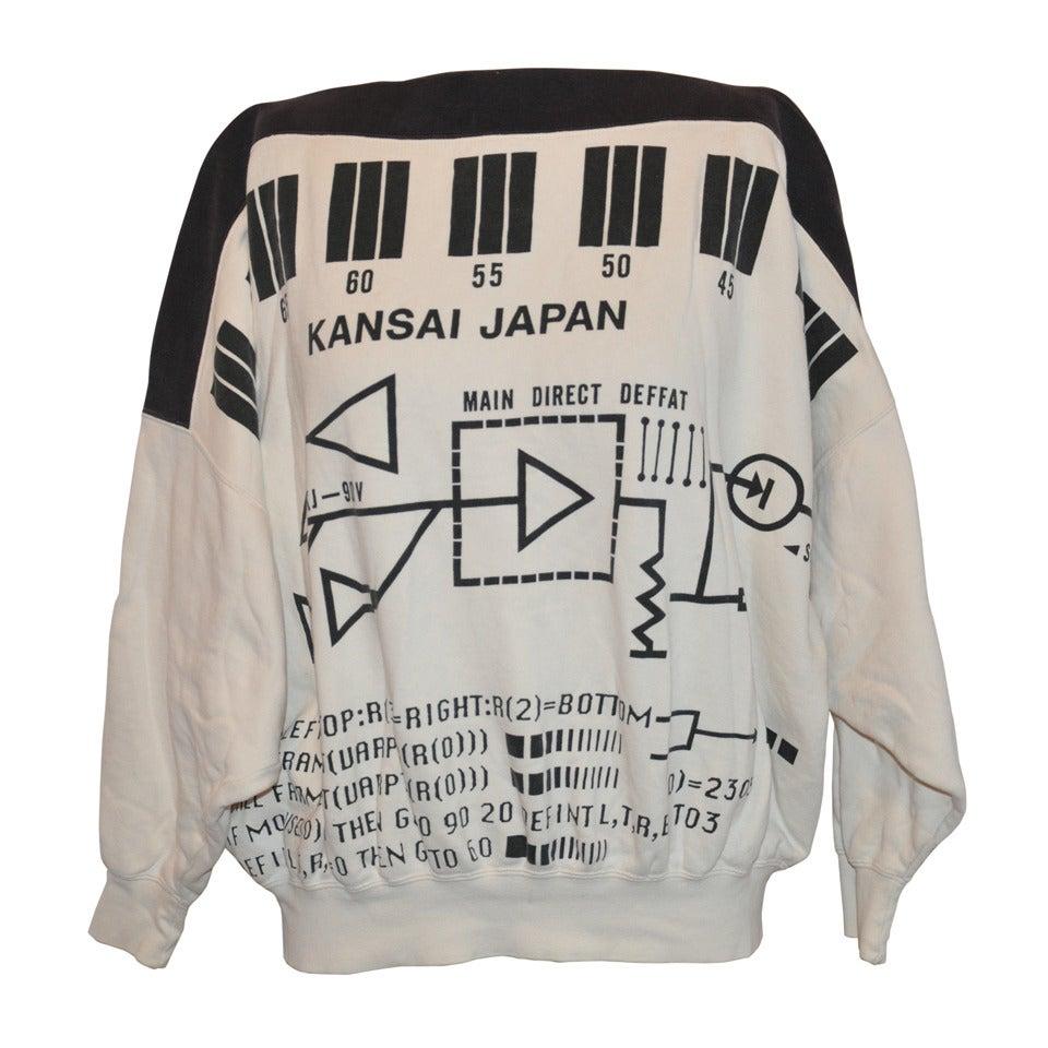 "Rare Yamamoto Kansai Bold ""Directions"" Block Print Boat-Neck Pullover 1"