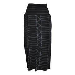 """Yoshi Yamamoto Black """"Graffiti"""" Low-Waisted Stretch Maxi Skirt"""