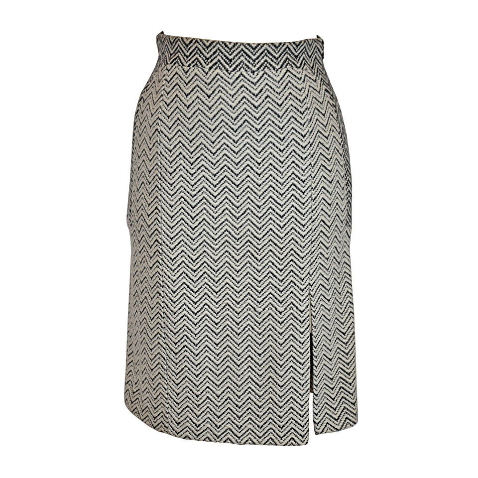 289d8fbd2 Luca Luca Fully Lined Black and White Textured Wool Pencil Skirt For ...