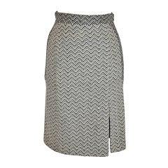 Luca Luca Fully Lined Black & White Textured Wool Pencil Skirt