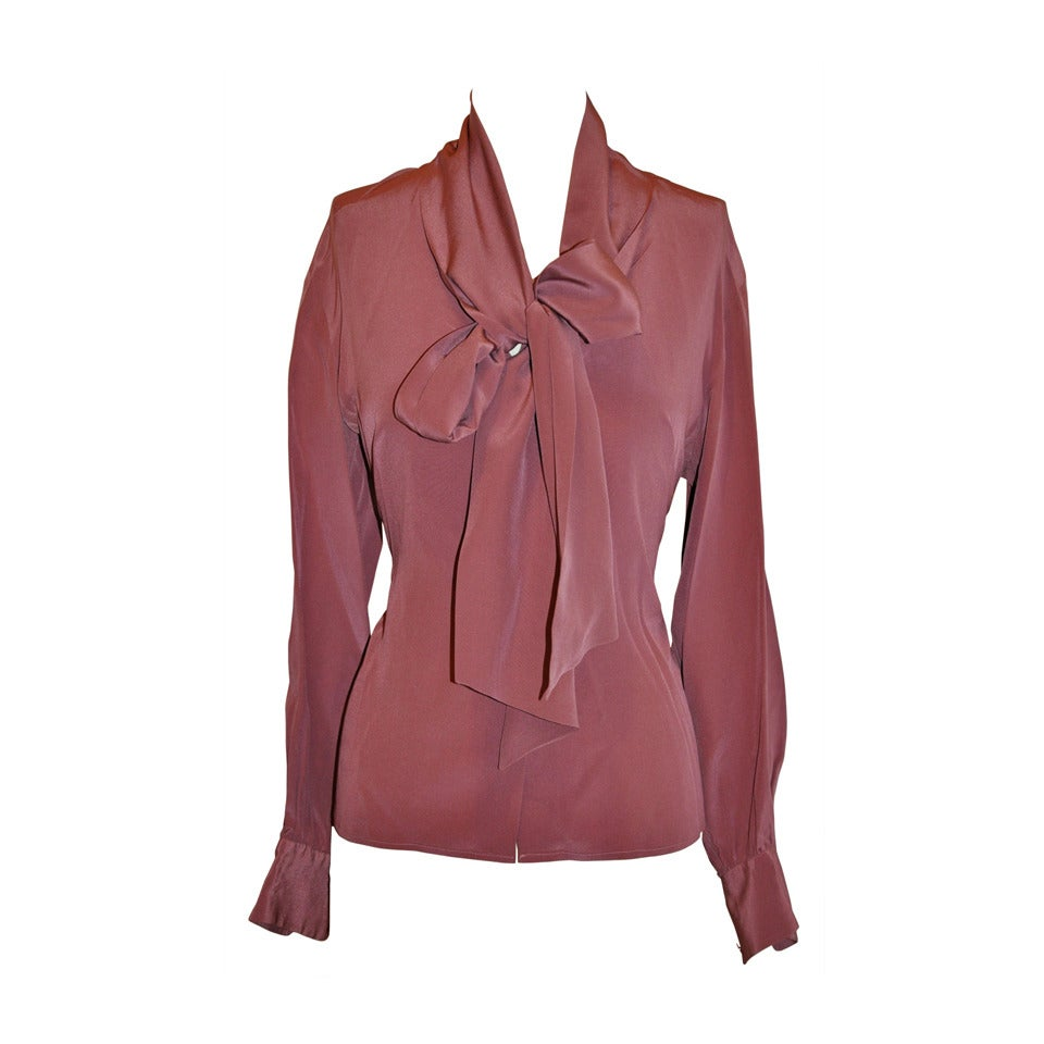Yves Saint Laurent Rive Gauche Deep Mauve with Tie Crepe de Chine Blouse