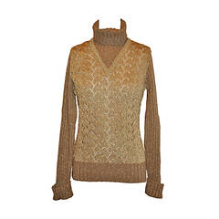 Moschino 'Couture' Tan Merino Wool /Metallic Gold Lame Woven Pullover
