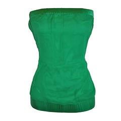 Eva Fortune Emerald Green Silk Crepe de Chine & Silk Chiffon Strapless Top