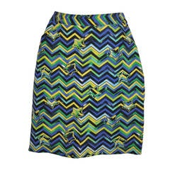 "Gianni Versace Multicolored with ""Stars"" Pencil Skirt"