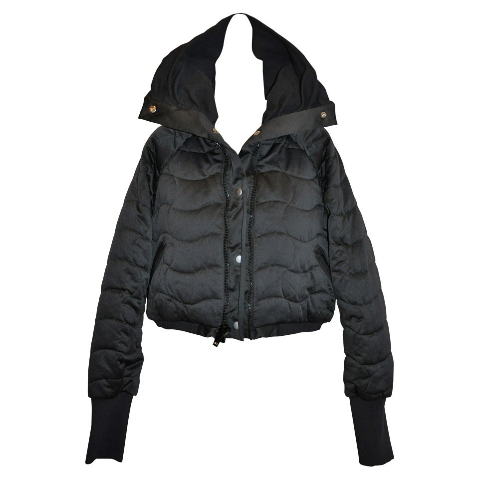 Stella McCartney Black High-Collar Quilted Cropped Puffer Zipper Jacket For Sale