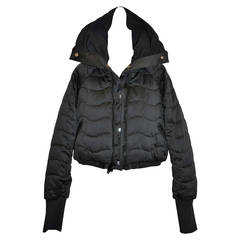 Stella McCartney Black High-Collar Quilted Cropped Puffer Zipper Jacket