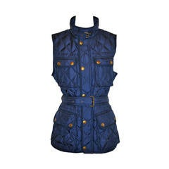 Ralph Lauren Navy Quilted Down Vest with Optional Belt