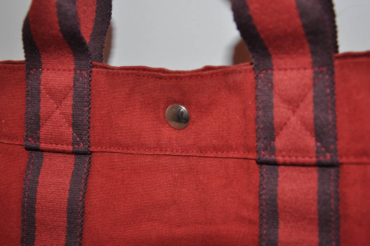 Hermes Burgundy Cotton Canvas Striped Tote 2