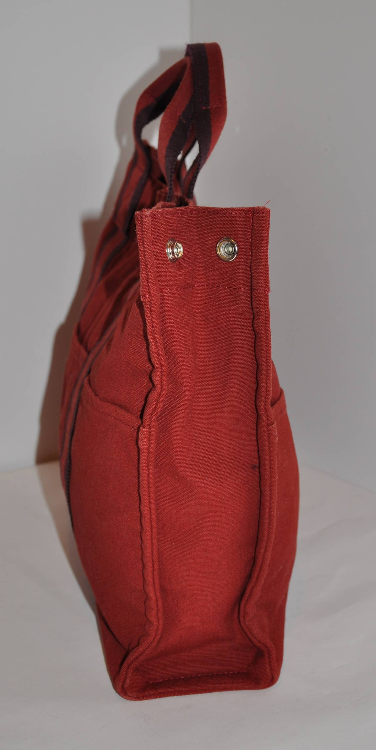 Hermes Burgundy Cotton Canvas Striped Tote 4