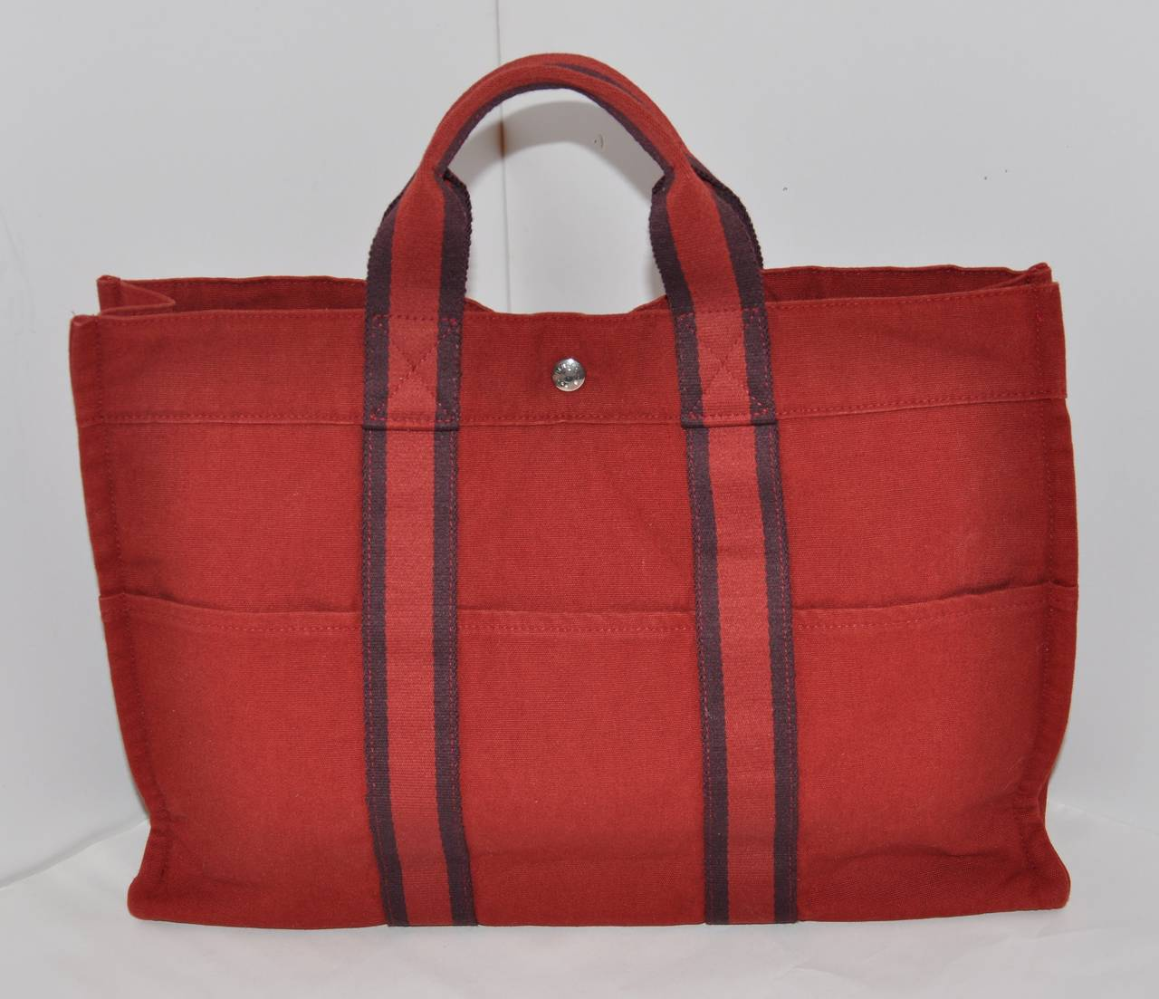Hermes Burgundy Cotton Canvas Striped Tote 5
