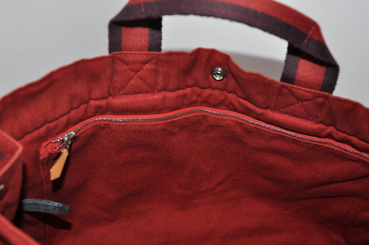 Hermes Burgundy Cotton Canvas Striped Tote 6