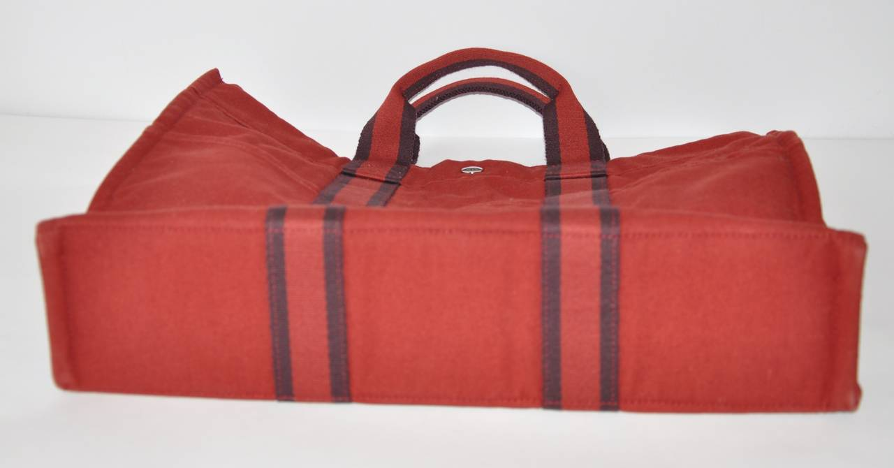 Hermes Burgundy Cotton Canvas Striped Tote 10