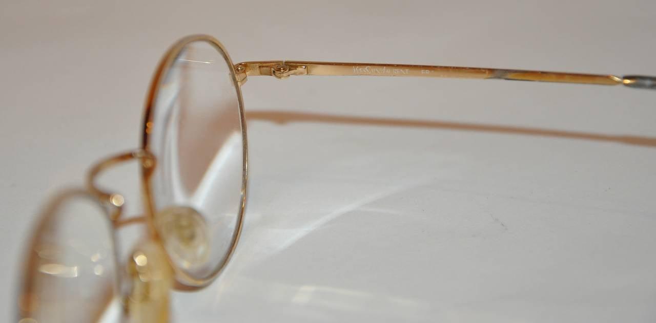 Yves Saint Laurent Multi-Red & Black Front Gold Hardware Frame Glasses 3