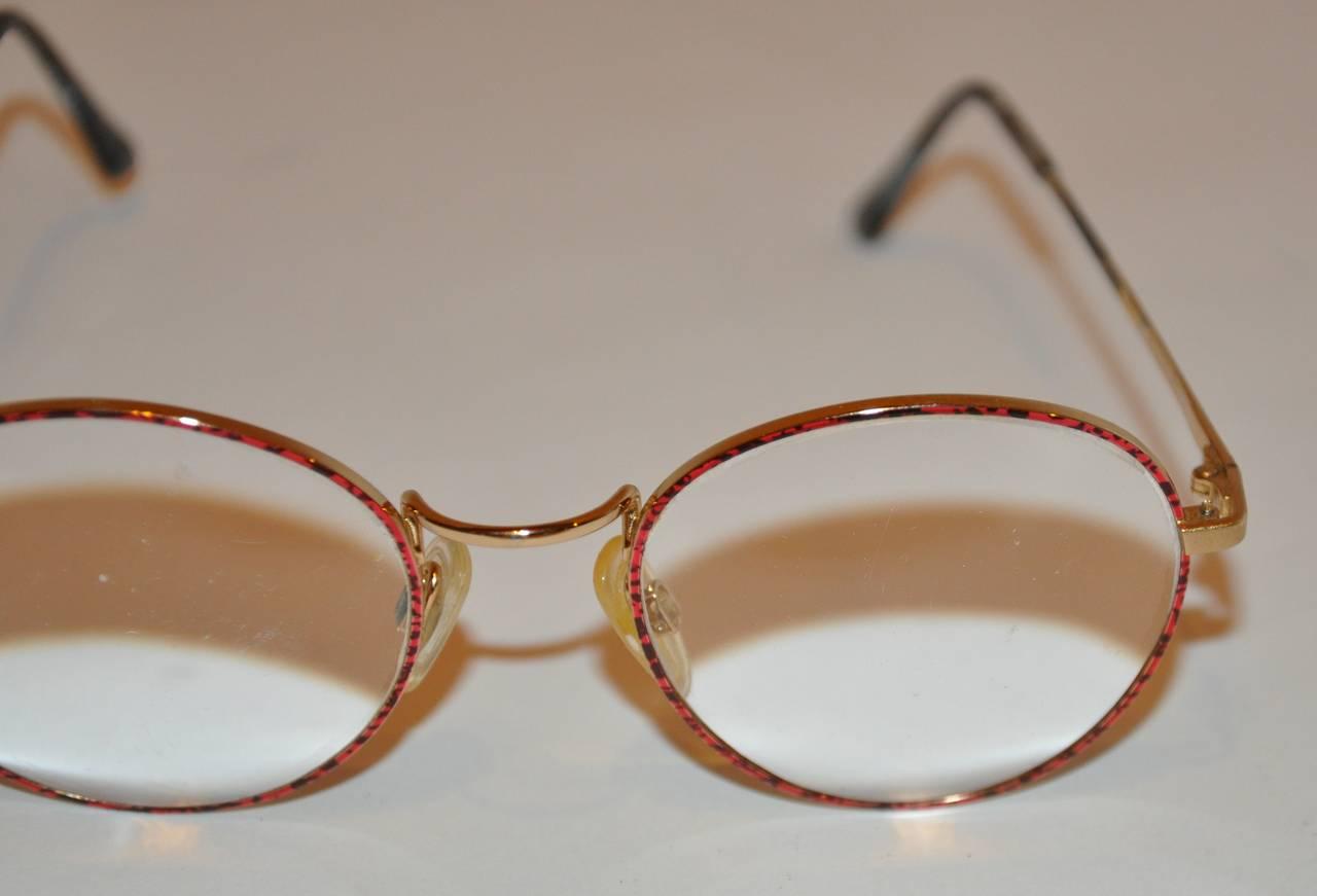 Yves Saint Laurent Multi-Red & Black Front Gold Hardware Frame Glasses 7