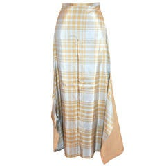 Nicolas Villalba 'Couture' Tan & Powder Blue Fully Lined Maxi Skirt