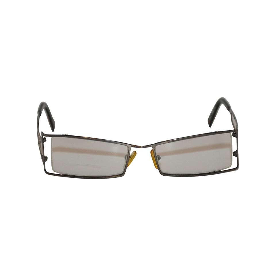 "Rochas ""Gun-Metal"" Hardware glasses with Detailing."