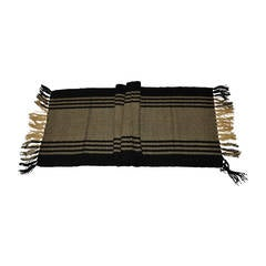 Thick Black & Tan Hand-Woven Cashmere with Fringe Scarf