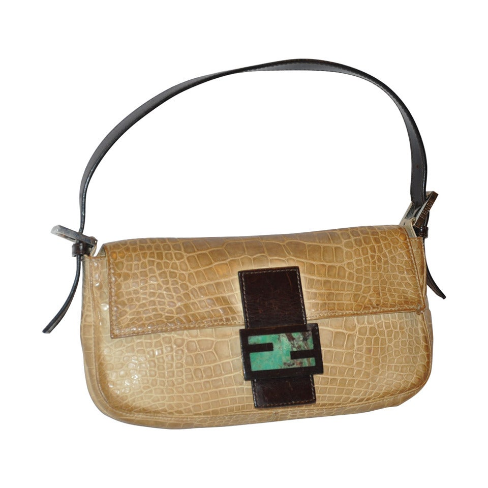 Fendi Baguette Croc-Embossed with Malachite Accent