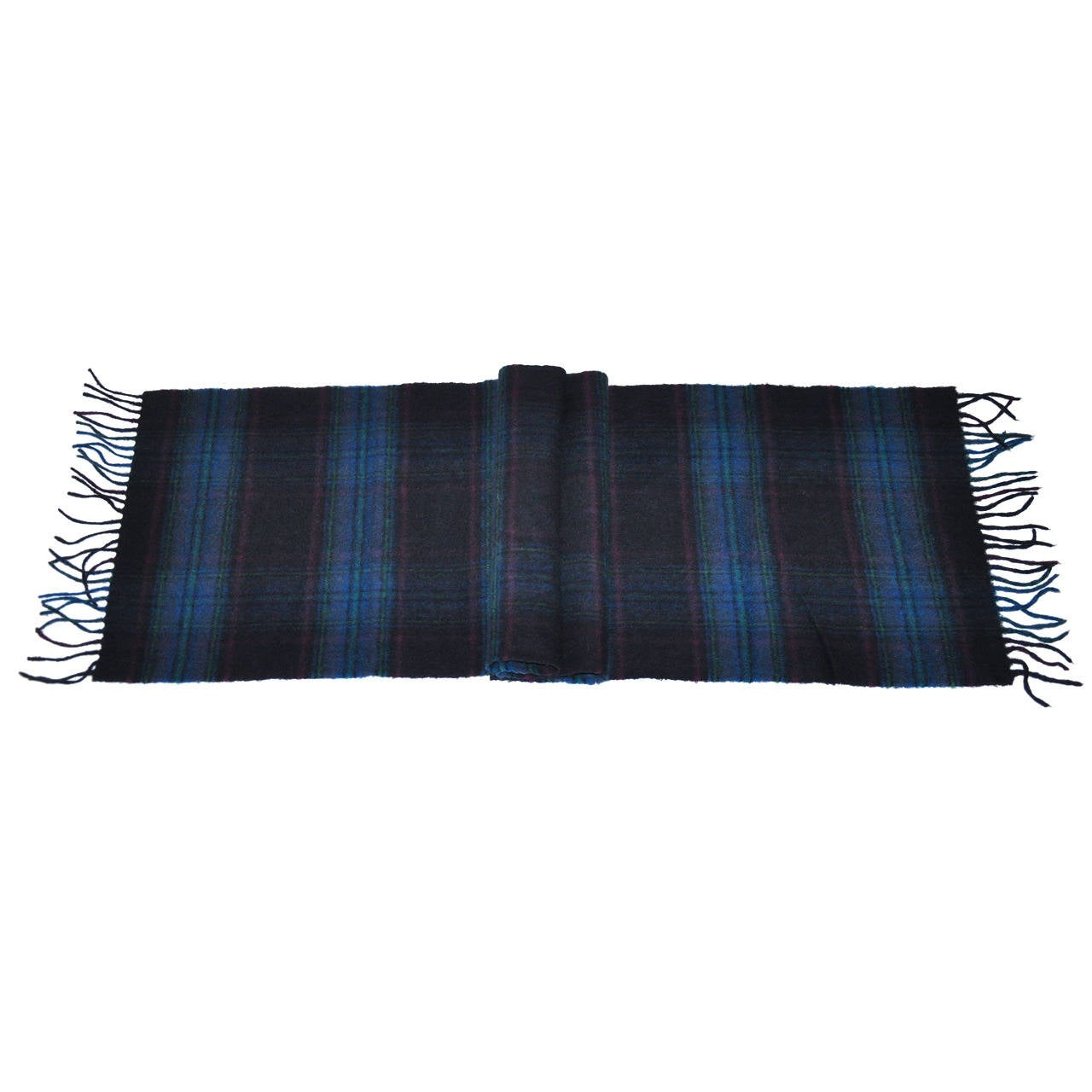 Harrods Multi-Color Plaid Cashmere and Wool with Fringe Scarf For Sale