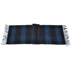Harrods Multi-Color Plaid Cashmere and Wool with Fringe Scarf