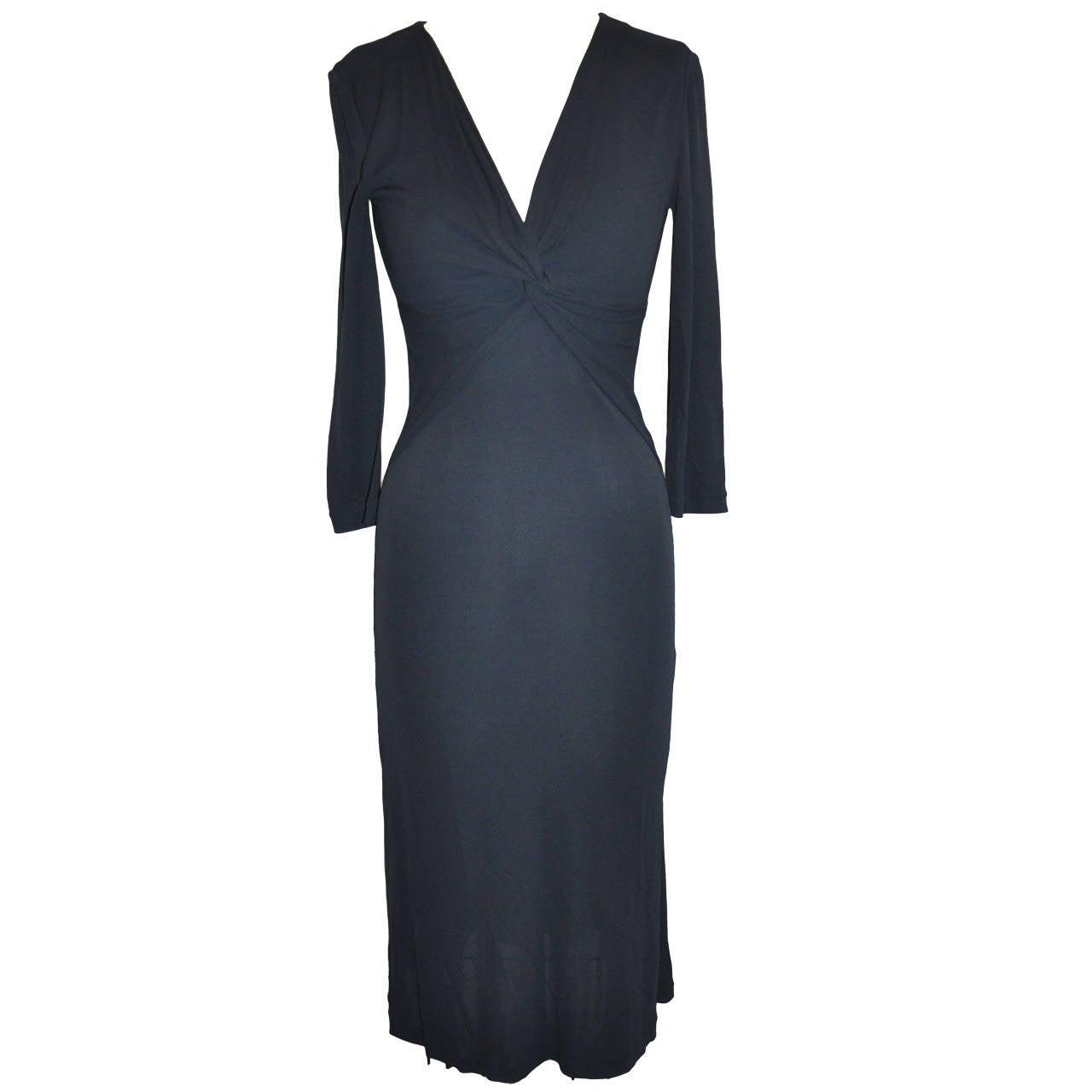 Georgio Armani Midnight Blue Silk Jersey Form-Fitting Dress
