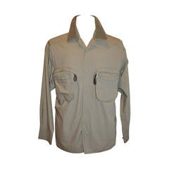 Matsuda Men's Olive with Removable Patch Pockets Shirt