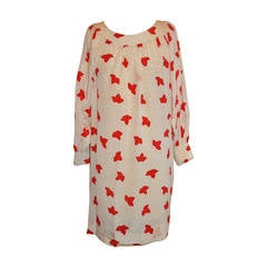 """Cream and Red """"Polka Dot & Leafs"""" Detailed Top-Stitched Silk Dress"""