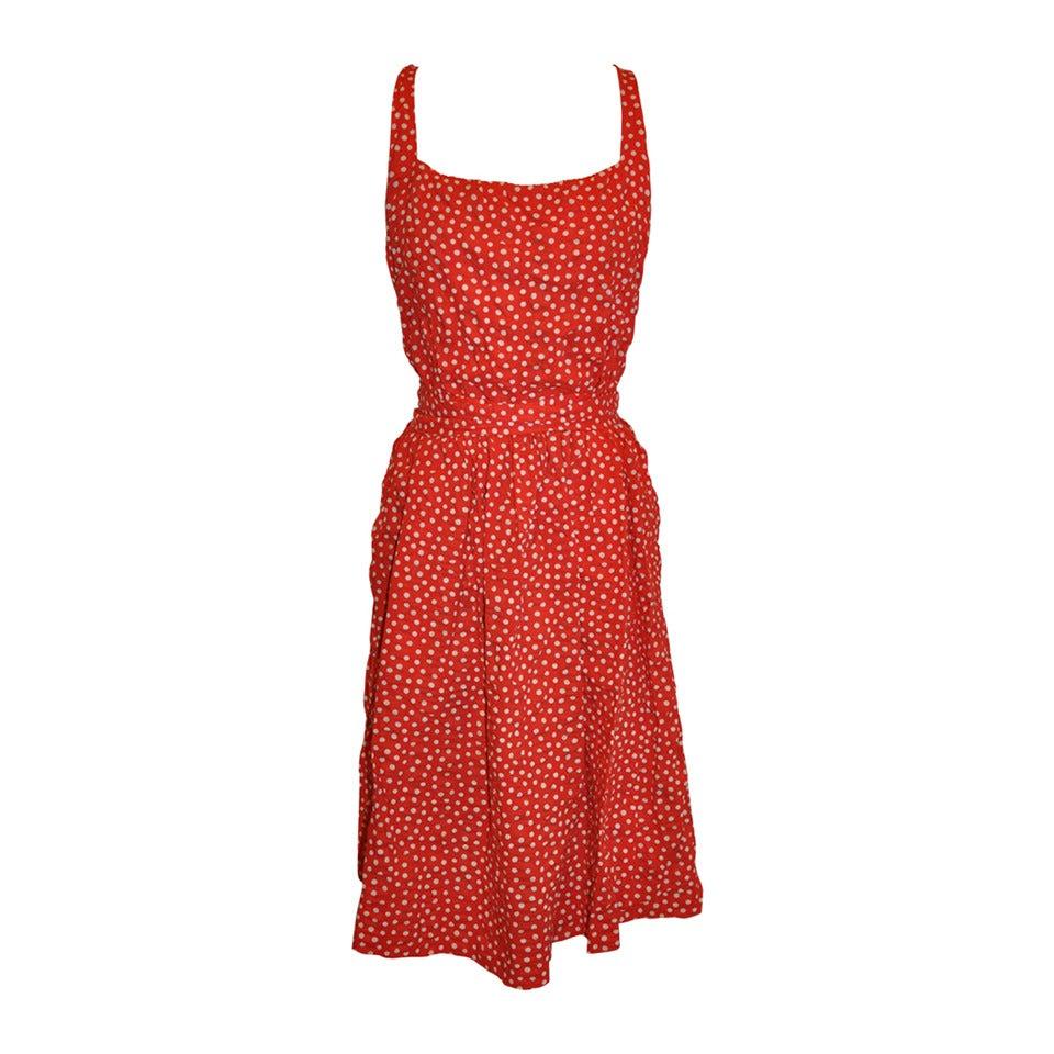 Halston Bold Red Polka-Dot Sheersucker Cotton Halter Dress