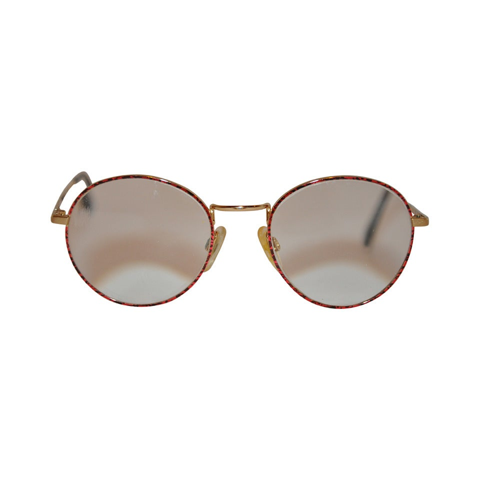 Yves Saint Laurent Multi-Red & Black Front Gold Hardware Frame Glasses