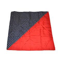 Jeannene Bashey Bold Red and Navy Polka Dot Silk Scarf