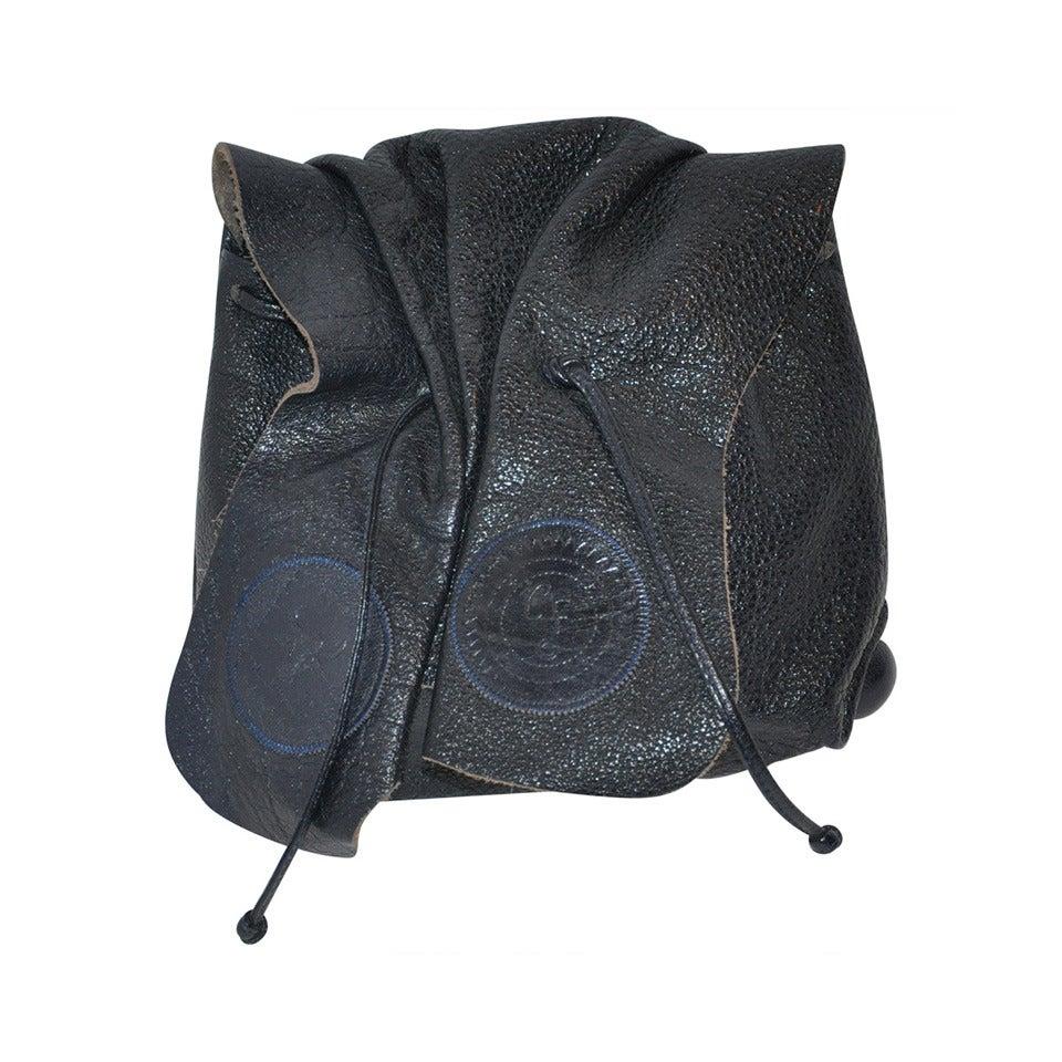 Carlos Falchi Midnight Blue Textured Buffalo Leather Cross-Body Shoulder Bag