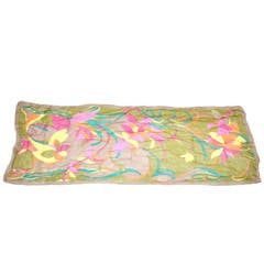 Bold Multi-Color Floral Silk Chiffon with Hand-Rolled Scarf