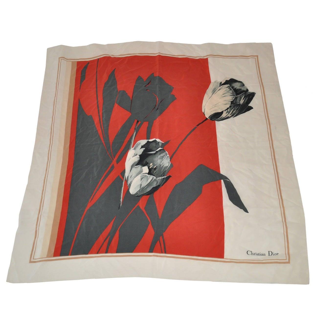 "Christian Dior ""Tulip"" Floral Silk Scarf For Sale"
