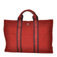 Hermes Burgundy Cotton Canvas Striped Tote