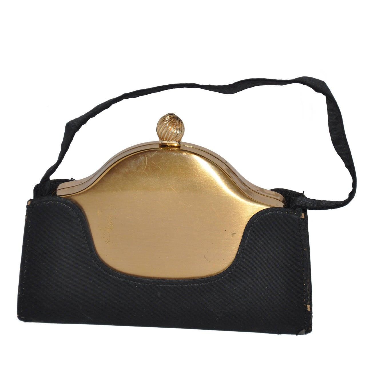 VoLupte Gold Hardware Make-Up Clutch with Cover Black Handbag Cover For Sale