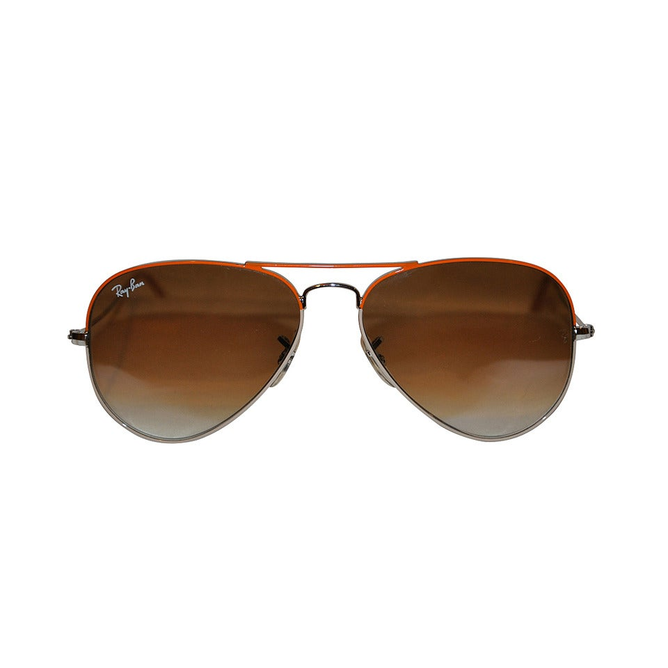 Ray Ban Silver with Tangerine Accent Hardware Sunglasses