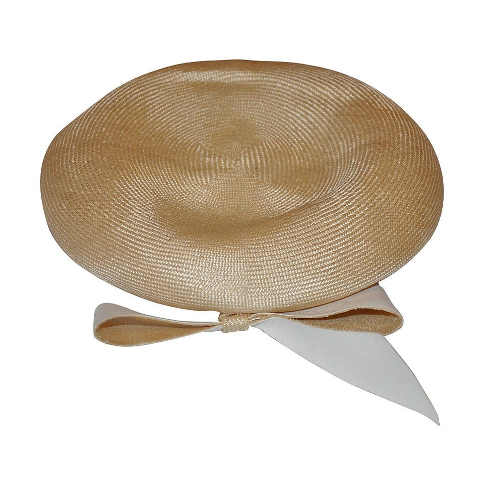 Adolfo Cream Straw Beret with Matching Large bow