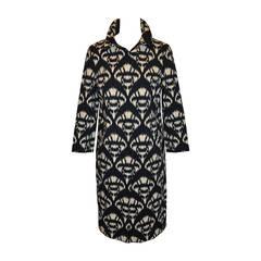 Oscar de la Renta Cream & Black Zippered Spring Coat