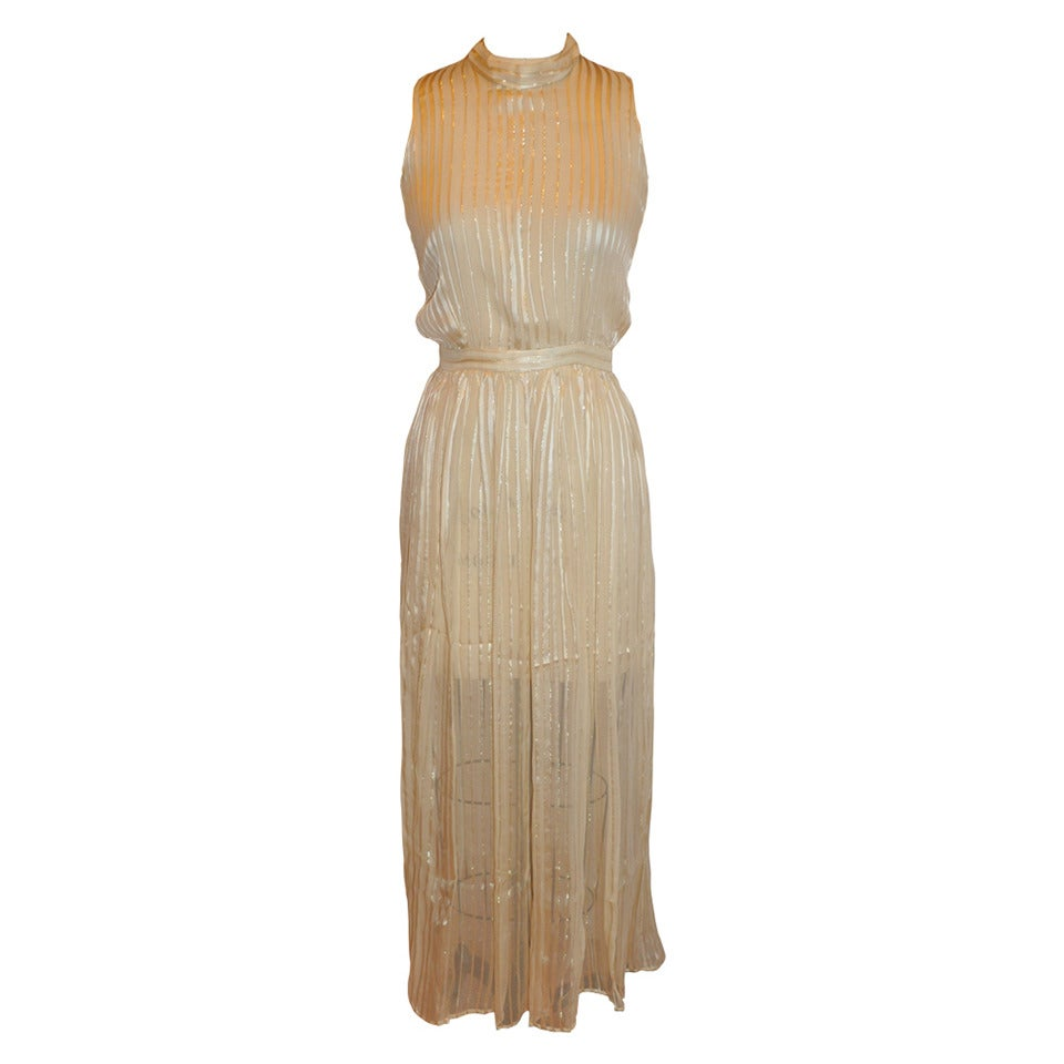 Norman Norell Crepe de Chine, Chiffon and Gold Lame Stripe Evening Dress