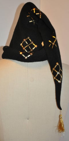 Black Ribbed with Gold Dots/ Squares & Metallic Gold Lame Stretch Cap-Hat