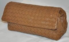 Bottega Veneta Beige Lambskin Sectional Woven Clutch