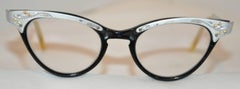 """Matted Silver Hardware with Black Lucite """"Cat Eyes"""" Glasses"""