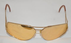 Silhouette Gold Hardware Accented with Gold Mirror Sunglasses