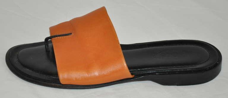 Black TOD's Camel Calfskin Leather Sandals For Sale