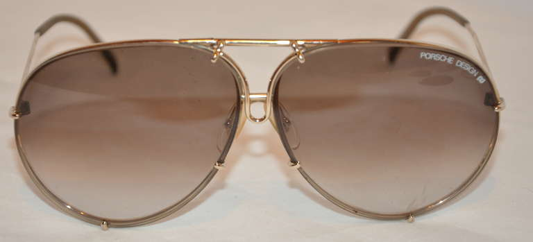 """Brown Porsche Design """"Carrera"""" 18k Frames with Two Extra Lenses For Sale"""