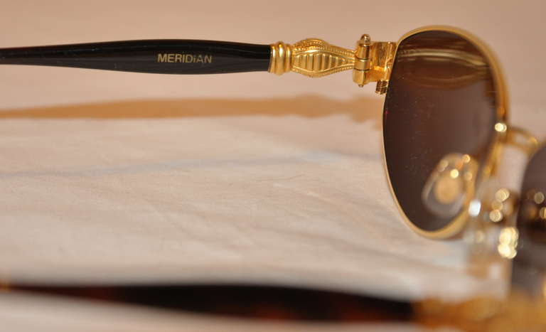 "Brown Kieselstein-Cord 18k ""Crocodile"" Frame Sunglasses For Sale"
