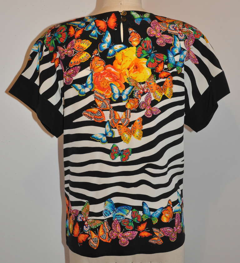 Margaretha Ley for Escade Bold Floral & Butterflies Silk Top 2