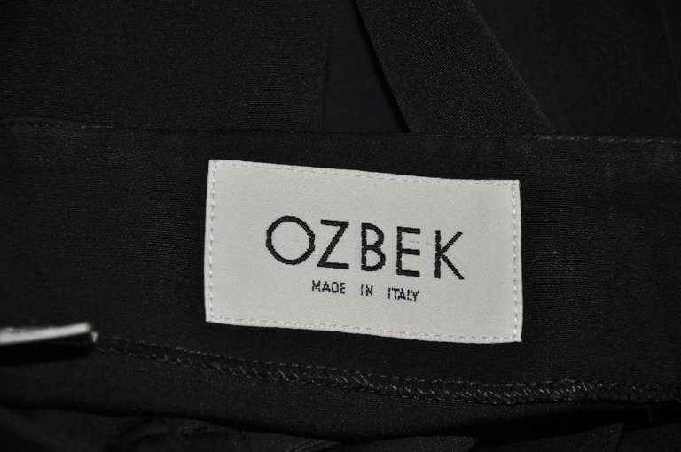 OZBEK Black Asymmetrical Black Wrap-Around Skirt In Excellent Condition For Sale In New York, NY