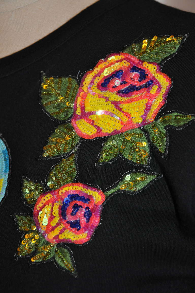Women's Micro Sequins & Silk Embroidered Black Top For Sale