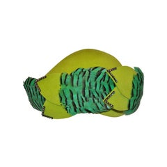 """Mr. John """"Classic"""" Bold Neon Green with Feathers Hat"""
